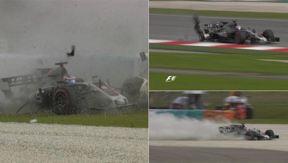 El accidente de Grosjean en Malasia