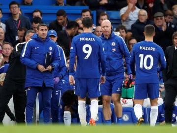 Morata se retira lesionado en el Chelsea-Manchester City