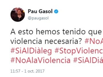 Pau Gasol condena la violencia empleada durante el referéndum ilegal
