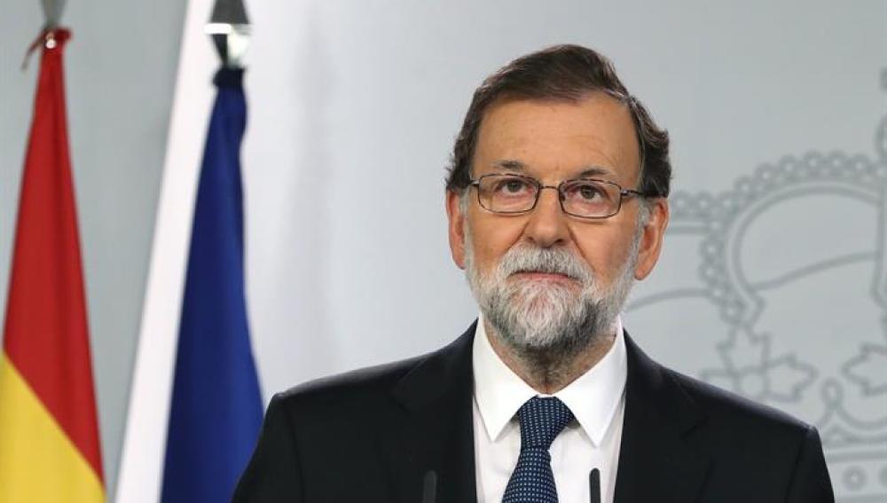 El presidente del Gobierno, Mariano Rajoy, durante la declaración institucional celebrada en La Moncloa
