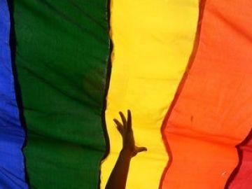 Bandera LGTBI con una mano