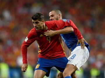 Morata, durante un partido con la selección española de fútbol