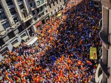 Vista áerea de la manifestación de este domingo en Barcelona