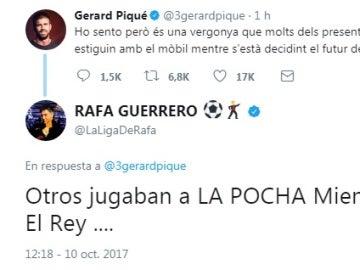 Piqué y Rafa Guerrero se enzarzan en una discusión a través de Twitter