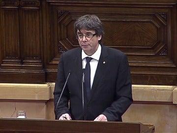 """Puigdemont, en su discurso en español: """"No somos unos golpistas. Somos gente normal que pide poder votar"""""""