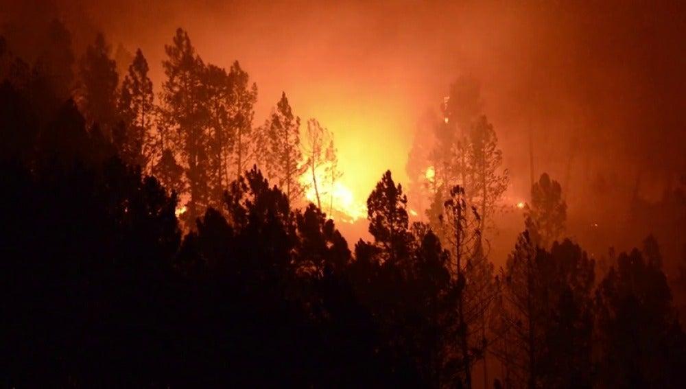 Tres incendios en el parque natural del Xurés en Lobios han quemado casi 400 hectáreas