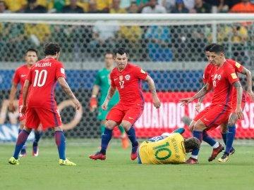 Chile, en el partido contra Brasil