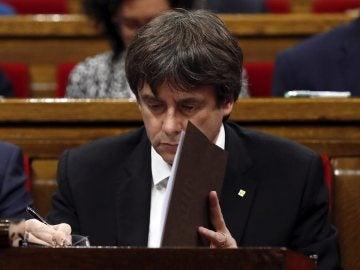 Carles Puigdemont en el Parlament