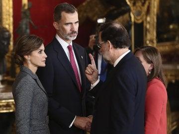 Mariano Rajoy, durante la recepción de los Reyes en el Palacio Real