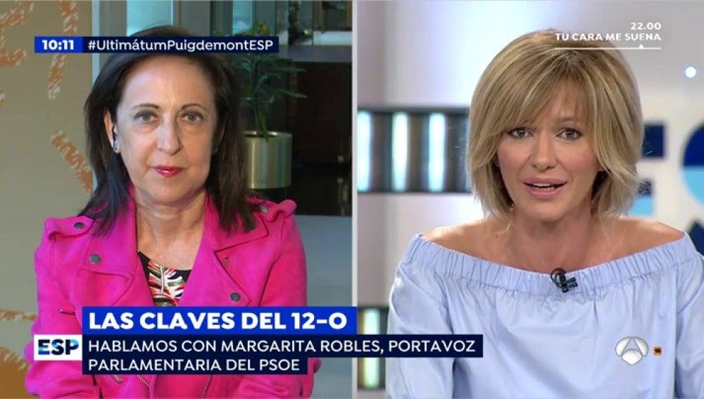 """Margarita Robles: """"Pido a Puigdemont que sea el presidente de todos los catalanes, le voten o no le voten"""""""