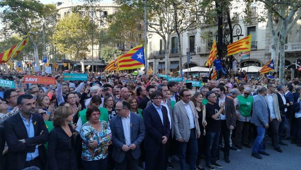 Manifestación en Barcelona por la liberación de 'los Jordis'