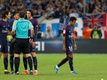 Neymar, expulsado durante el partido contra el Marsella