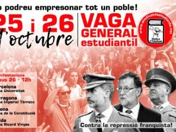 Polémico cartel de universitarios independentistas convocando protestas contra la el 155 el jueves