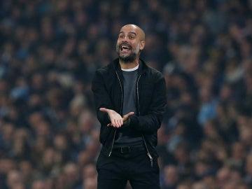 Pep Guardiola, durante el partido de la Copa Inglesa