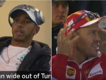 Hamilton y Vettel, en el briefing de pilotos del GP de México