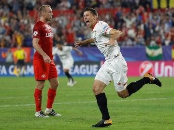 Lenglet celebra su gol contra el Spartak