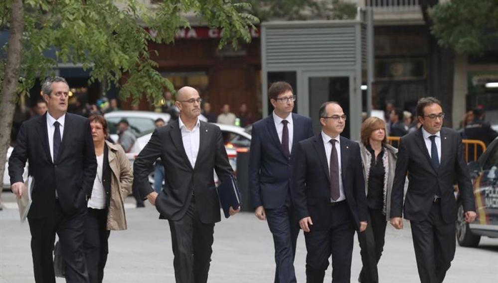 Varios exconsejeros del Govern, a su llegada a la Audiencia Nacional
