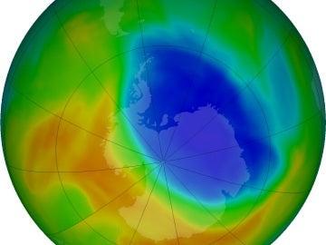 Imagen del agujero de la capa de ozono