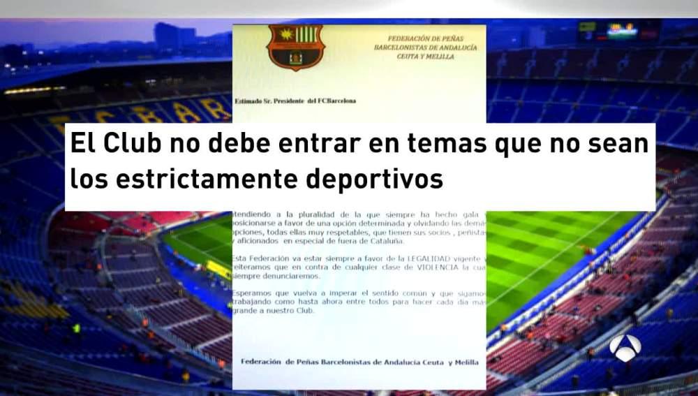 Peñas de fuera de Cataluña piden al club no posicionarse