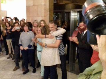 Forcadell a su llegada al Parlament