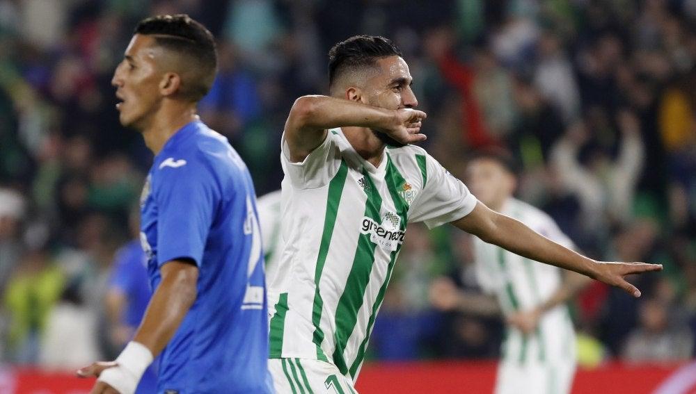 Boudebouz celebra el segundo gol ante el Getafe