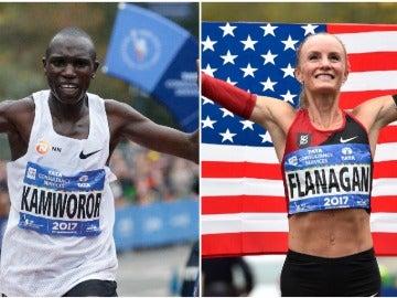 El keniano Kamworor y la estadounidense Flanagan ganan el maratón de Nueva York