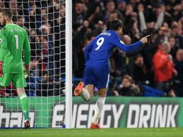 Morata celebra un gol ante De Gea