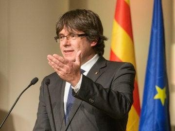 Carles Puigdemont, en un acto con alcaldes independentistas