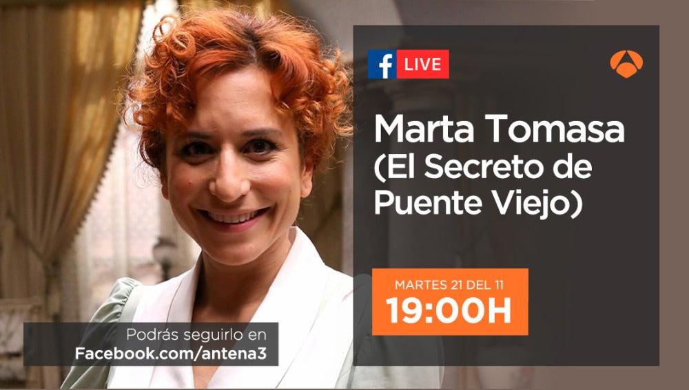 Marta Tomasa estará con los seguidores de 'El secreto de Puente Viejo' en directo el próximo martes
