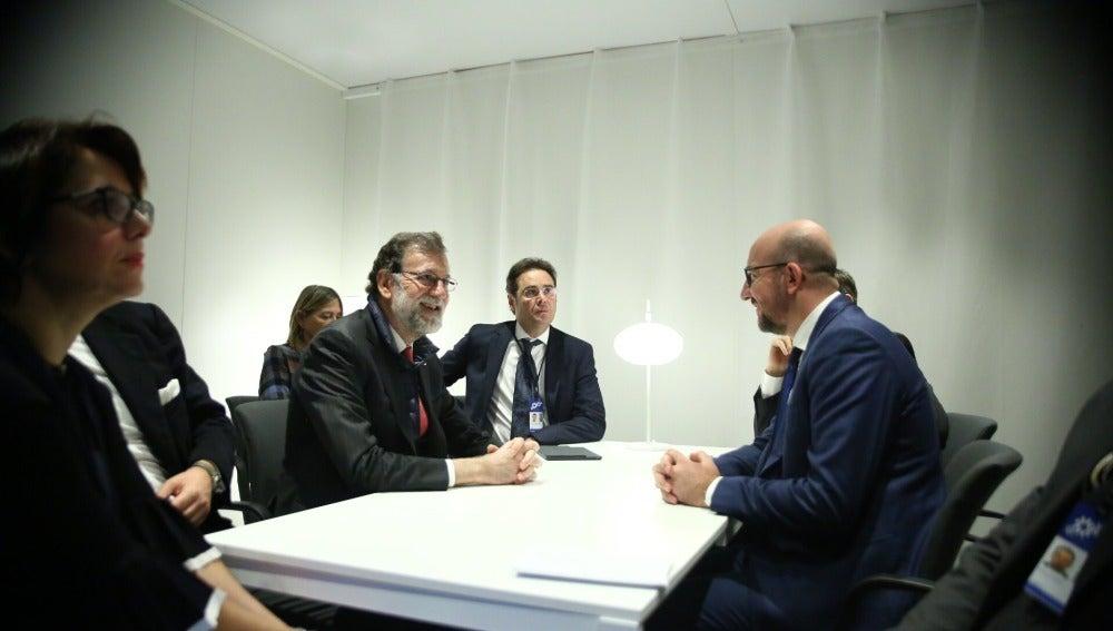 Encuentro entre Mariano Rajoy y Charles Michel en Suecia