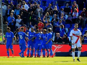 El Getafe celebra un gol ante el Alavés