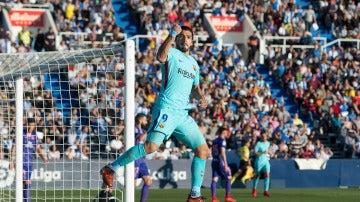 Luis Suárez celebra uno de sus dos goles ante el Leganés