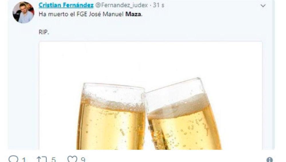 Tuit de Cristian Fernández sobre la muerte de Maza