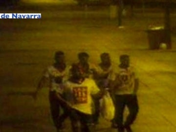 Integrantes de La Manada grabados la noche de la agresion