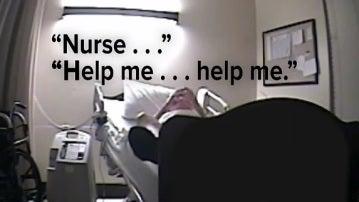 Un hombre pide ayuda a las enfermeras en un hospital
