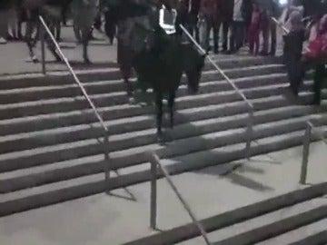 La caída de un policía a caballo al bajar unas escaleras del Wanda Metropolitano
