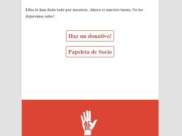 Página a través de la cual se pueden hacer donativos