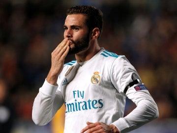 Nacho celebra su gol ante el APOEL