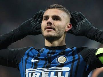 Icardi celebrando un gol con el Milán