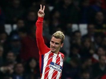 Antoine Griezmann celebra su gol con el Atlético de Madrid