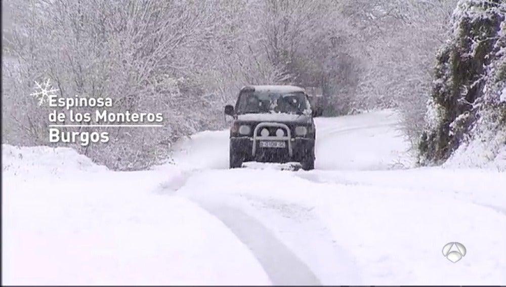 La esperada nieve llega a la Península dejando espesores de hasta cinco centímetros en algunos puntos de Burgos
