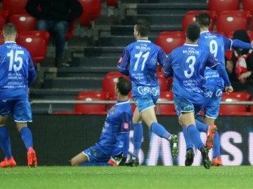 Los jugadores del Formentera celebran su histórico gol en San Mamés