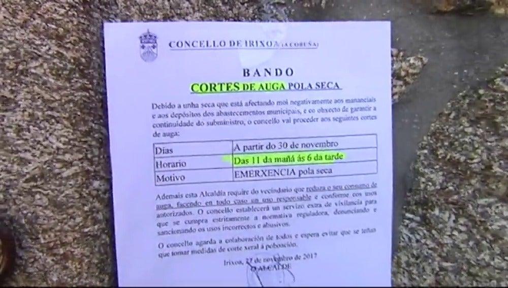 Cortan el suministro de agua en Irixoa (A Coruña) debido a la sequía