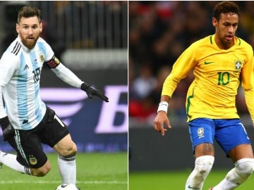 Leo Messi y Neymar con Argentina y Brasil