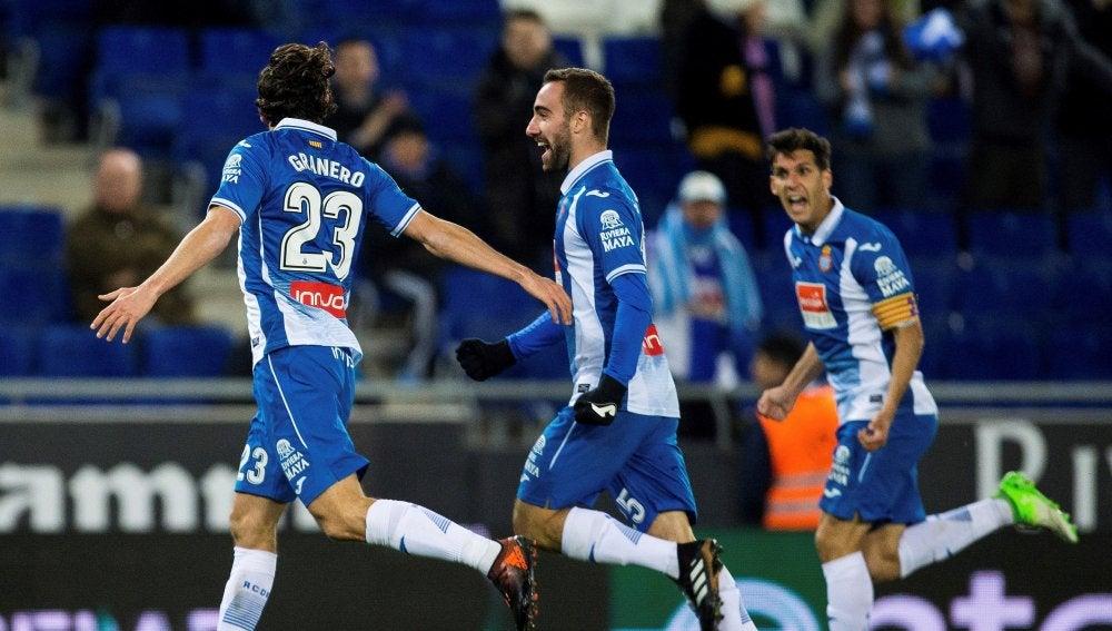 Los jugadores del Espanyol celebran un gol ante el Tenerife