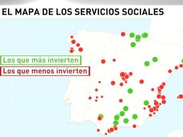 El mapa de los ayuntamientos que más y menos invierten en servicios sociales