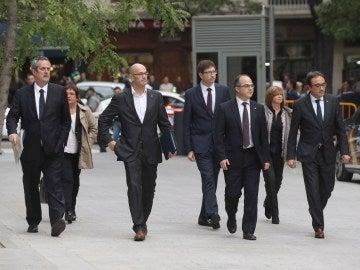 Los exconsellers, el pasado mes de noviembre, a su llegada a la Audiencia Nacional