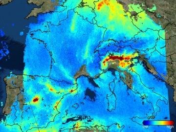 El satélite Sentinel capta el NO2 sobre la atmósfera