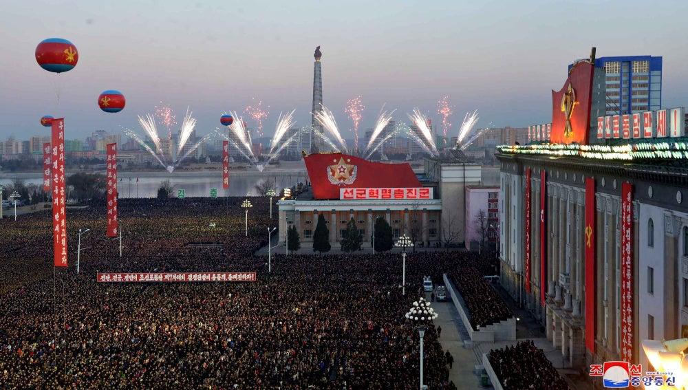 La celebración del lanzamiento del misil