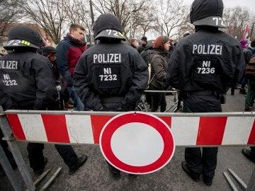 La policía alemana durante una manifestación